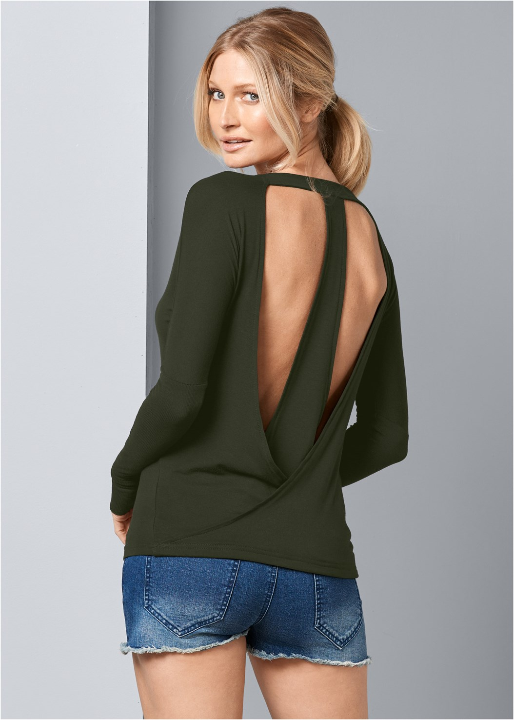 Open Back Active Top,Frayed Cut Off Jean Shorts,Strap Solutions