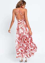 Back View Printed Ruffle Maxi Dress