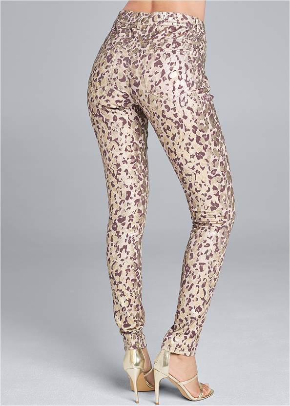 Back View Leopard Print Skinny Jeans