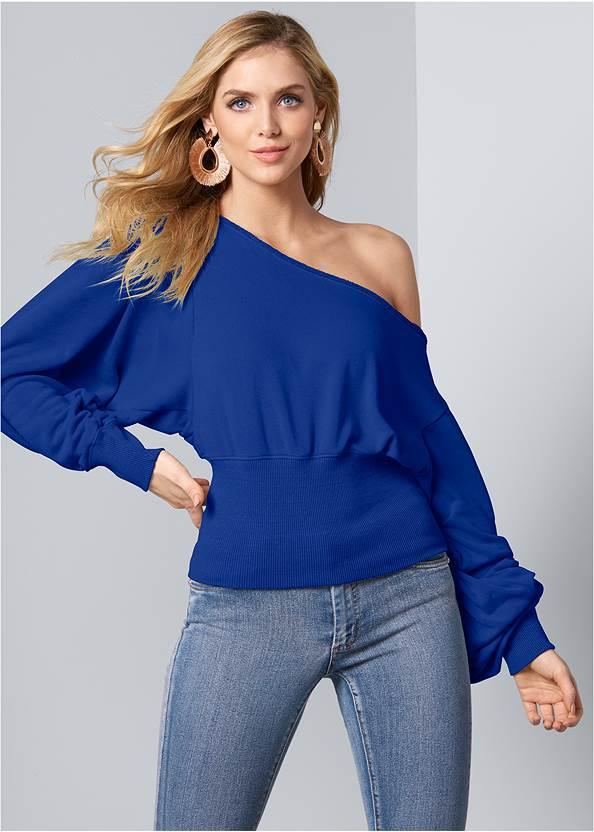 Front View Off-The-Shoulder Sweatshirt