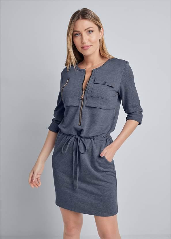Zipper Detail Lounge Dress,Rhinestone Thong Sandals