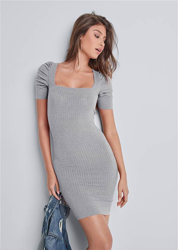 Ruched Sleeve Ribbed Dress