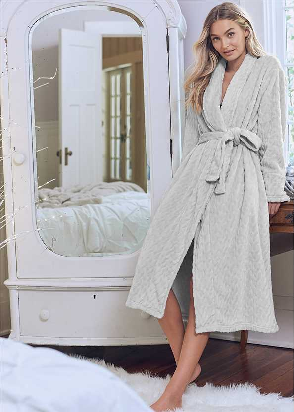 Cozy Sleep Robe,Sheer Lace Chemise