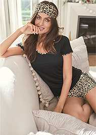 Cropped Front View 3 Pc Sleep Short Set