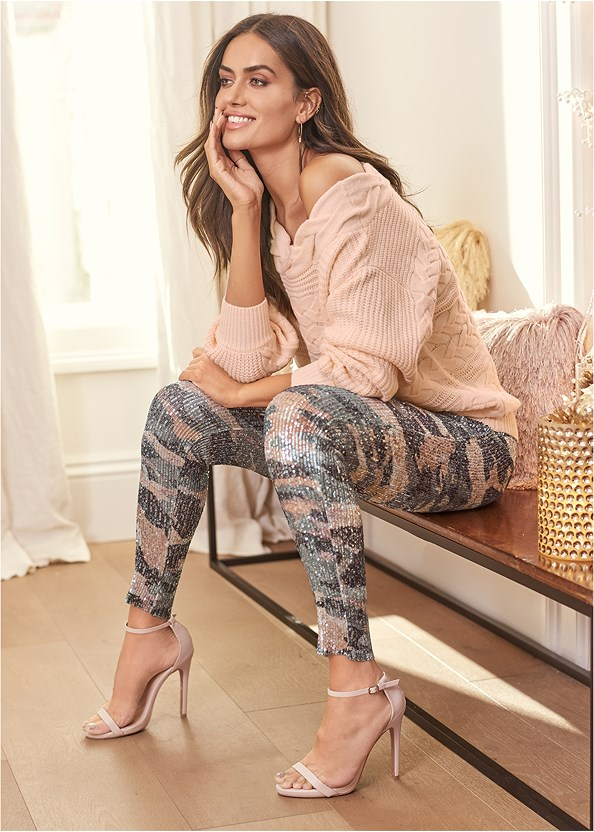 Sequin Camo Leggings,Boat Neck Cable Knit Sweater,Lace Cami,Jean Jacket,Seamless Unlined Bra,Ankle Strap Heels,High Heel Strappy Sandals,Mix Metal Tassel Earring