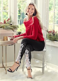 Alternate View Lace Detail Leggings