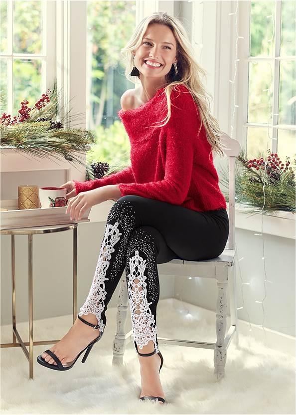 Lace Detail Leggings,Cozy Off Shoulder Sweater,Long And Lean V-Neck Tee,Ankle Strap Heels,Quilted Belt Bag