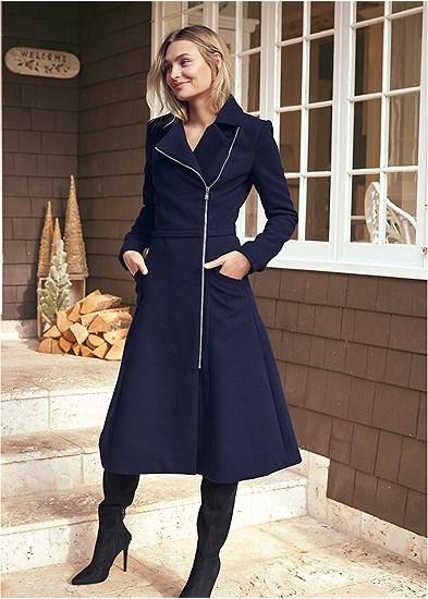 Long Asymmetrical Zipper Coat