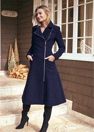 Full Front View Long Asymmetrical Zipper Coat