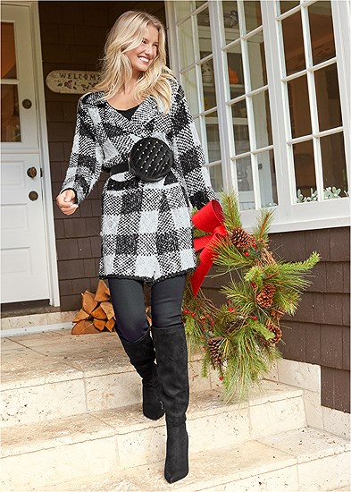 Sparkle Plaid Long Cardigan