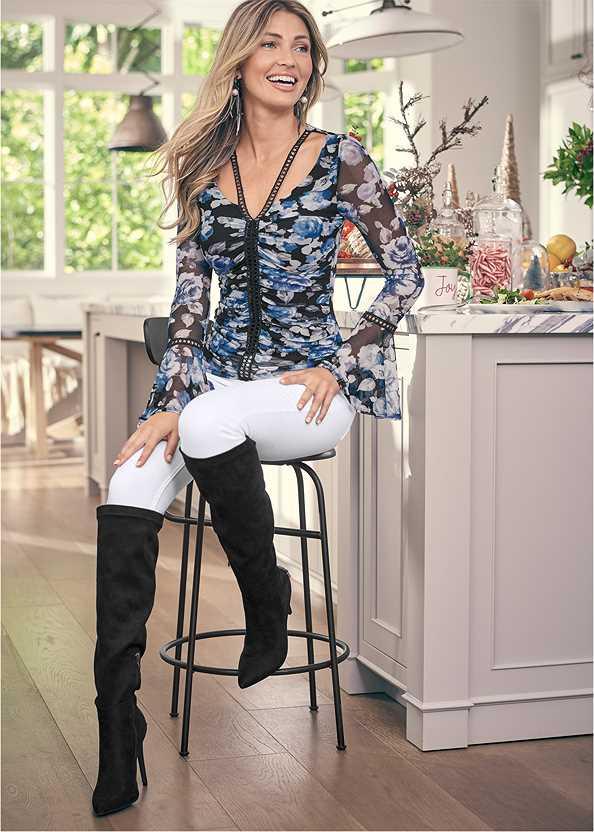 Floral Mesh Top,Mid Rise Color Skinny Jeans,Velvet Pants,Seamless Unlined Bra,Heel Embellished Boot,Ankle Strap Heels,Rhinestone Fringe Earrings,Bauble Hoop Earrings