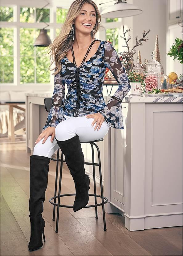 Floral Mesh Top,Mid Rise Color Skinny Jeans,Velvet Pants,Heel Embellished Boot,Ankle Strap Heels