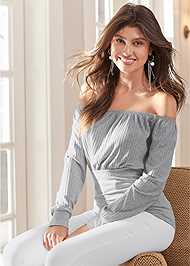 Cropped Front View Off The Shoulder Ribbed Top