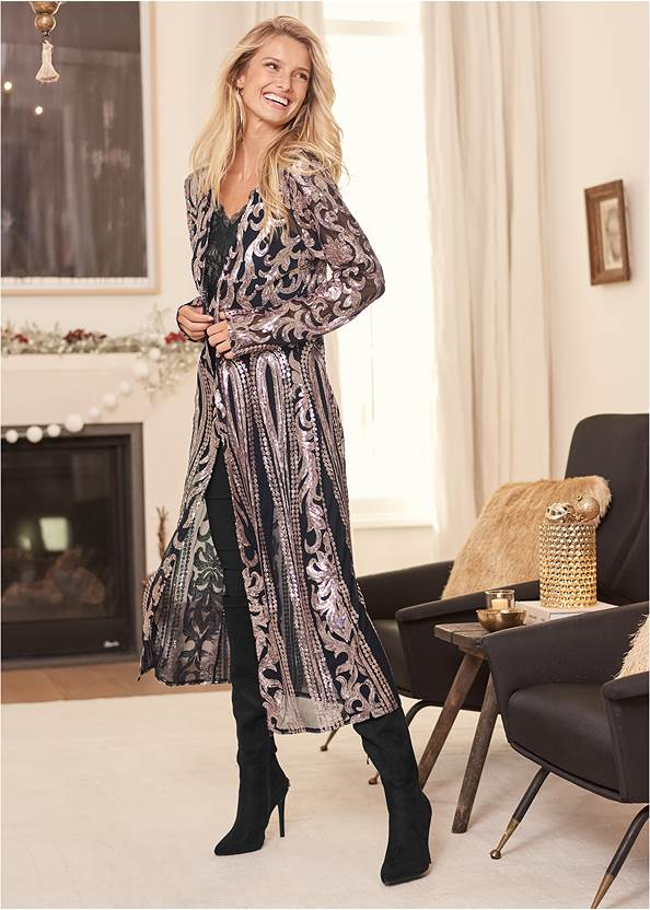 Sequin Mesh Long Jacket,Mid Rise Slimming Stretch Jeggings,Faux Leather Pants,Gold Statement Heel Boots,Lace Detail Tank,Tiger Detail Earrings