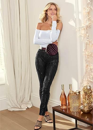 Sequin Fringe Skinny Jeans