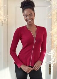Front View Zipper Front Peplum Sweater