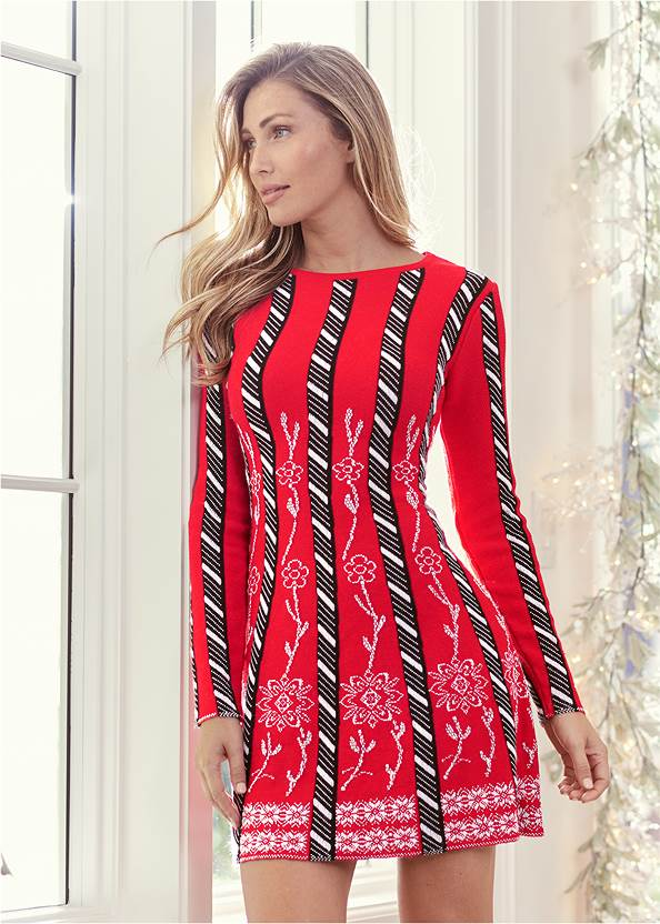 Striped Sweater Dress,Heel Embellished Boot,Quilted Handbag With Charm