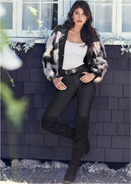 Full Front View Faux Fur Jacket