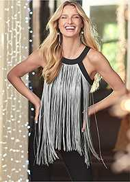 Cropped front view Fringe Top