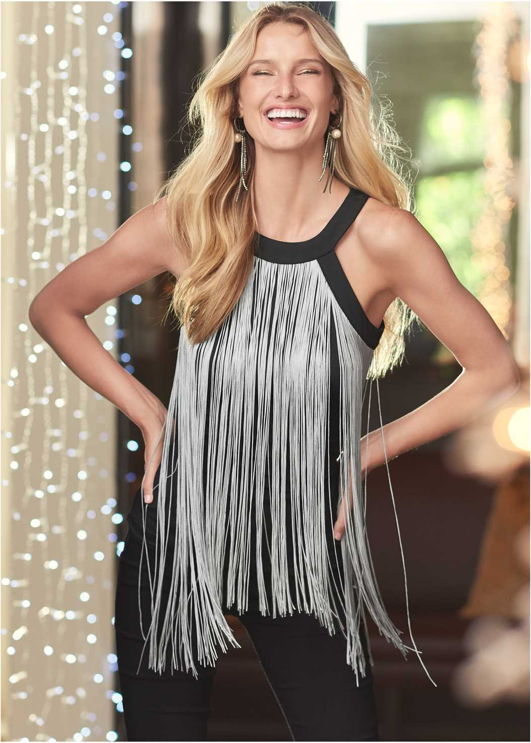 Fringe Top,Mid Rise Slimming Stretch Jeggings,Heel Embellished Boot,Slouchy Mid-Calf Boot,Rhinestone Fringe Earrings