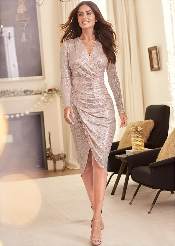 Sequin Long Dress,Ankle Strap Heels