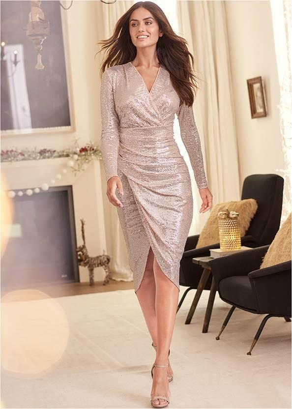 Sequin Long Dress,Ankle Strap Heels