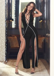 Full Front View Embellished Trim Jumpsuit