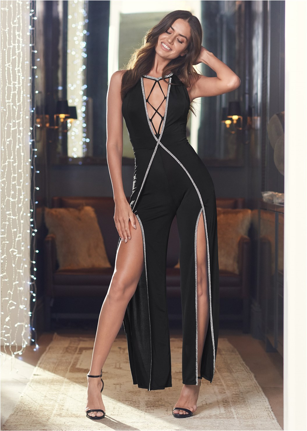 Embellished Trim Jumpsuit,Cleavage Enhancers,Ankle Strap Heels,Shadow Stripe Heels