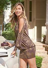 Cropped Front View Cold Shoulder Shimmer Dress