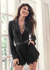 Cropped Front View Tuxedo Romper