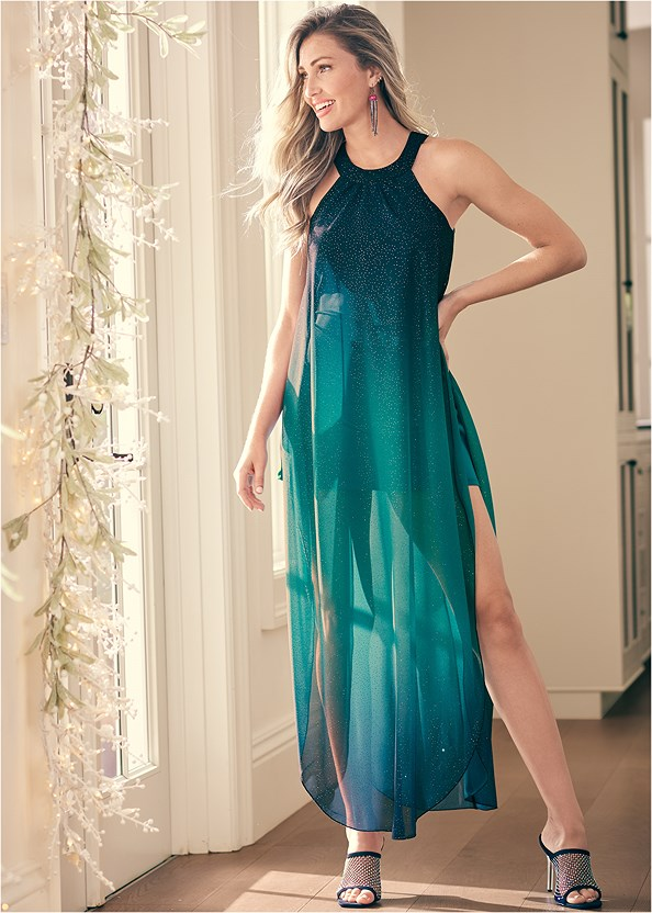 Ombre Glitter Long Dress,Venus Cupid Bra,Embellished Net Heel,Lucite Detail Heels,Faux Feather Handbag,Shadow Stripe Heels