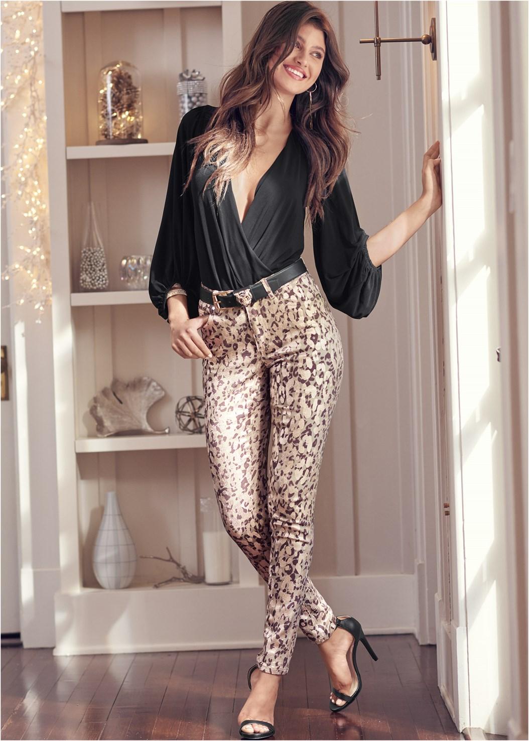 Leopard Print Skinny Jeans,Surplice Bodysuit,Ribbed Mesh Seamless Top,High Heel Strappy Sandals,Ankle Strap Heels,Embellished Fringe Earrings,Tiger Rhinestone Belt