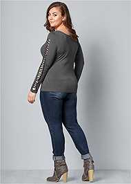 Back View Cut Out Sleeve Detail Top