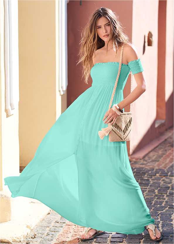Smocked Detail Maxi Dress,Tassel Detail Hoop Earrings,Bead Detail Crochet Bag