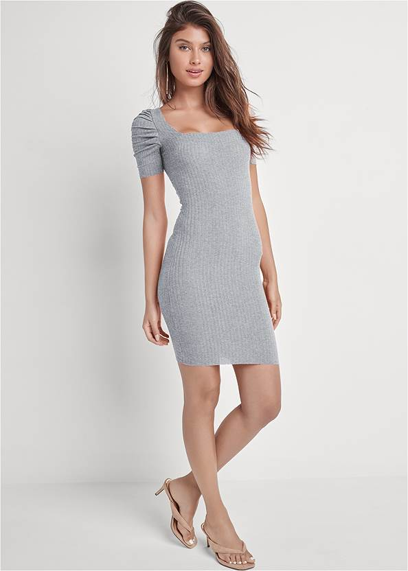 Full front view Ruched Sleeve Ribbed Dress