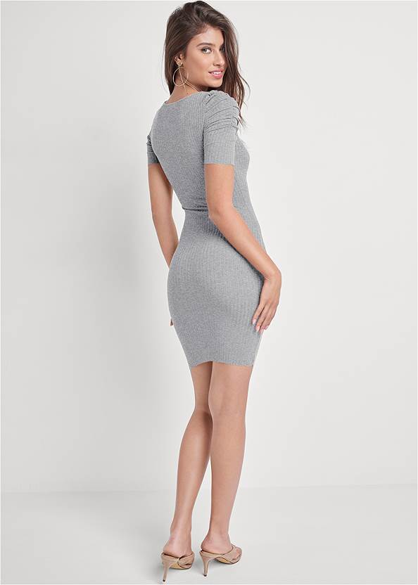 Full back view Ruched Sleeve Ribbed Dress