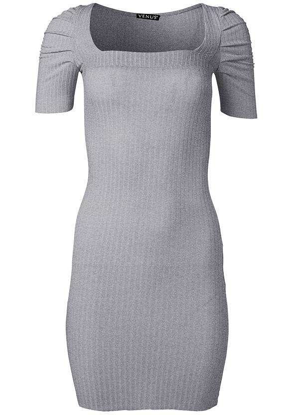 Alternate View Ruched Sleeve Ribbed Dress