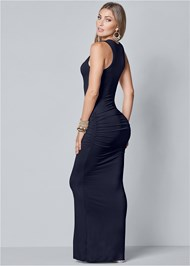 Back View Ruched Tank Maxi Dress