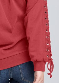 Alternate View Lace Up Sleeve Sweatshirt