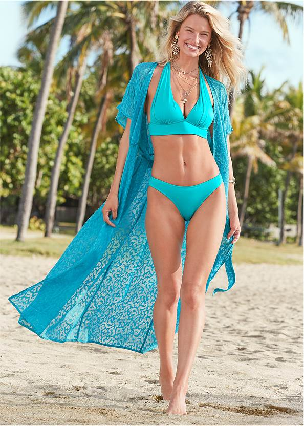 Long Wrap Cover-Up Dress,Scoop Front Classic Bikini Bottom