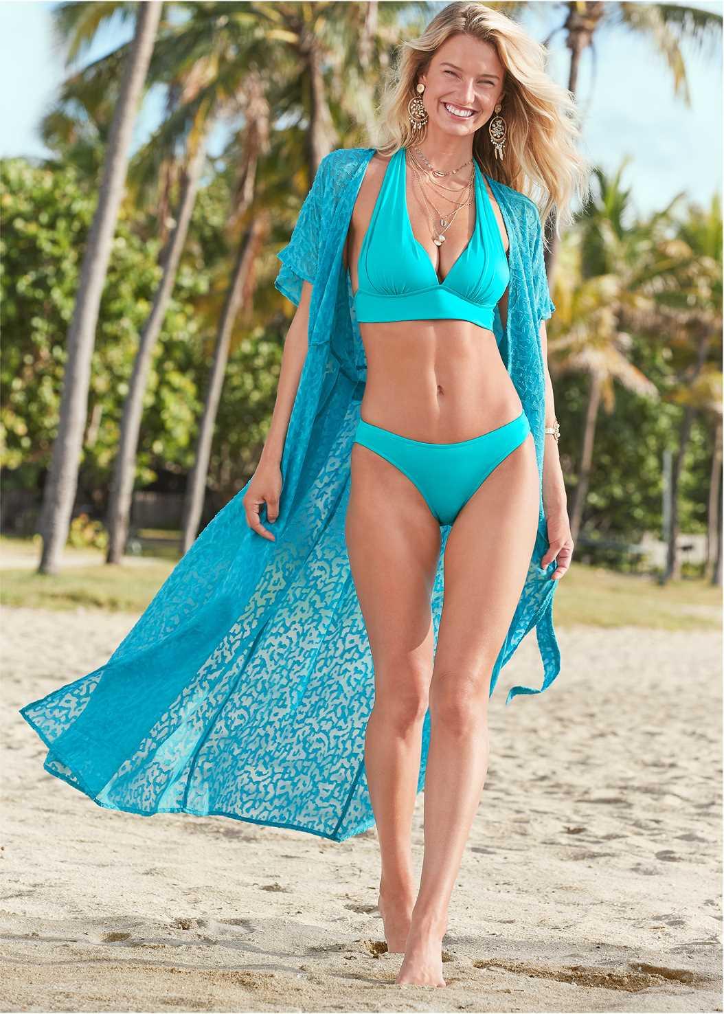 Long Wrap Cover-Up Dress,Underwire Halter Bikini Top,Scoop Front Classic Bikini Bottom