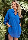 Front View Long Sleeve Tunic Cover-Up