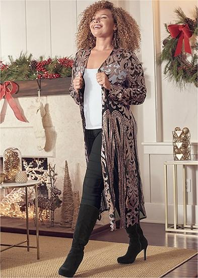 Plus Size Sequin Mesh Long Jacket