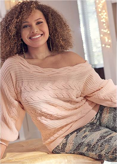 Plus Size Boat Neck Cable Knit Sweater