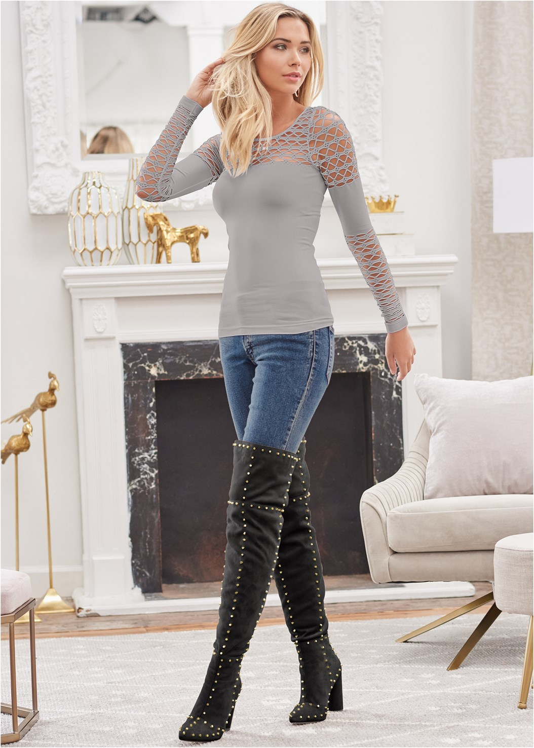 Seamless Fitted Cut Out Top,Mid Rise Color Skinny Jeans,Reversible Jeans,Faux Leather Pants,Smooth Longline Push Up Bra,Block Heel Boots,Studded Over The Knee Boots,Rhinestone Fringe Earrings,Crisscross Choker,Stud Detail Belt