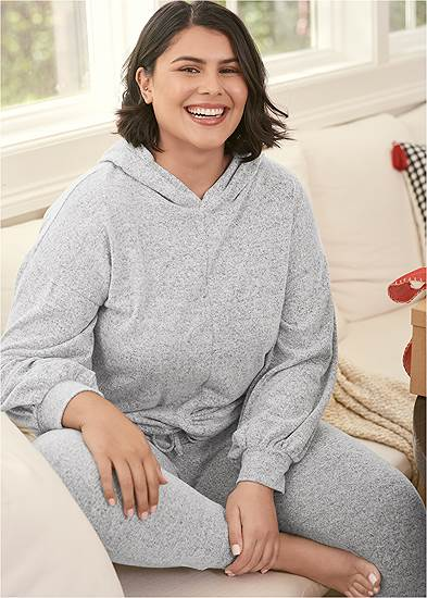 Plus Size Cozy Knot Detail Hacci Sweatshirt