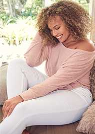 Alternate View Cozy Off Shoulder Hacci Lounge Top