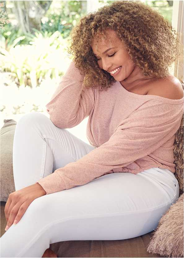 Cozy Off Shoulder Hacci Lounge Top,Mid Rise Color Skinny Jeans