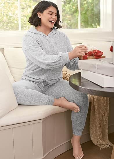 Plus Size Cozy Lounge Hacci Joggers