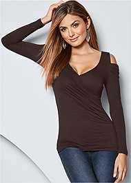 Front view Draped Sleeve Top
